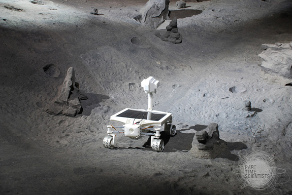 The Asimov moon rover as seen on a mockup of the lunar surface.