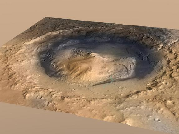 NASA's 1-ton Curiosity rover will land in August 2012 near the foot of Mount Sharp inside Mars' Gale Crater.