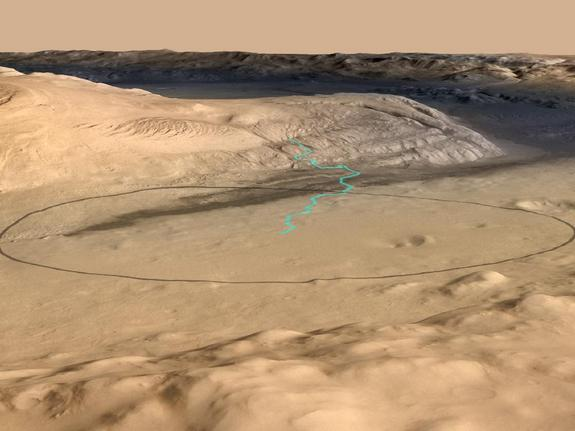 A closeup view of the foot of Mount Sharp, where NASA's Curiosity Mars rover will land on the night of Aug. 5, 2012.