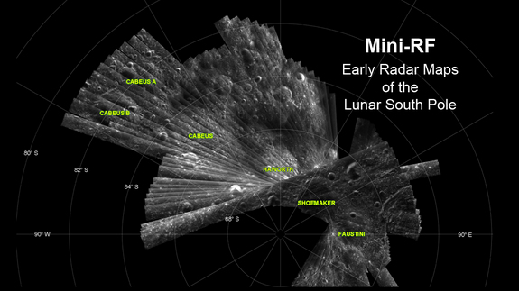 This Mini-RF image shows radar imagery of the lunar south pole.