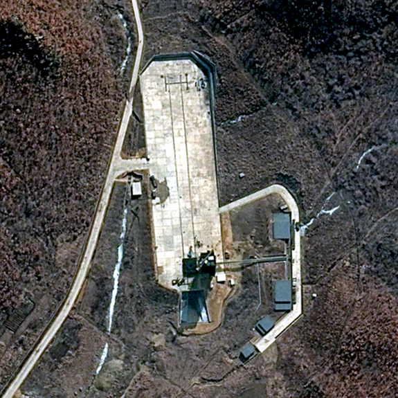 This DigitalGlobe 50-cm-resolution natural color image of the North Korean launch site at Tongchang-ri, in the northwest part of the country, was taken March 28, 2012. DigitalGlobe imagery confirms a higher level of activity within the overall facility and significant activity at the launch pad specifically, ahead of a satellite launch planned between April 12 and April 16.