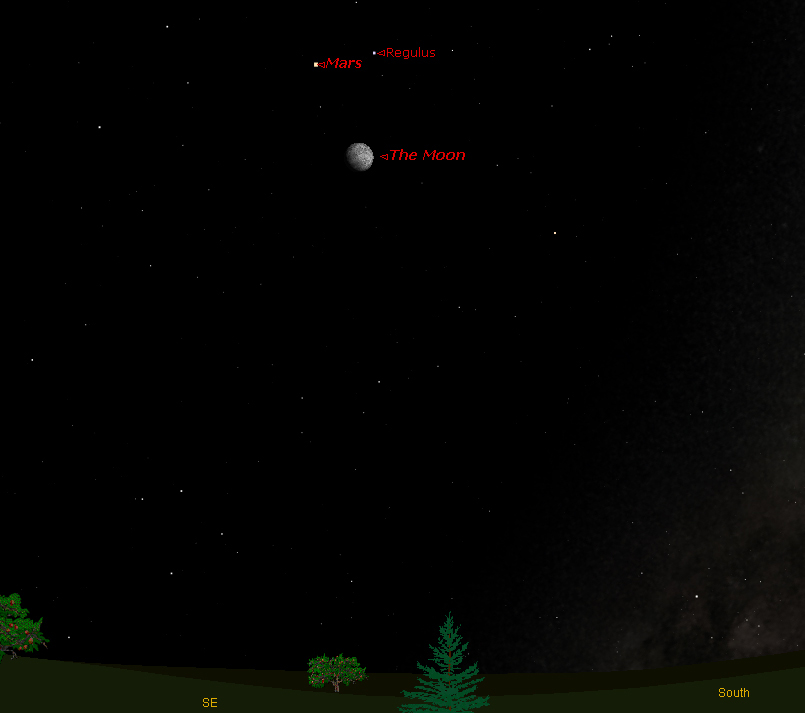 Mars Forms Triangle with Moon and Bright Star Tonight