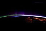 An Expedition 30 crew member took this photo of the North Atlantic with an aurora on March 28, 2012.