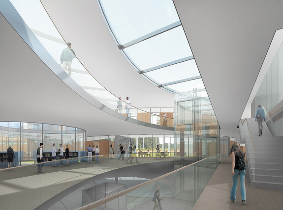 This artist's rendering shows how the interior of the European Southern Observatory's headquarters in Garching, Germany will look after the planned expansion. Construction is expected to be complete near the end of 2013.