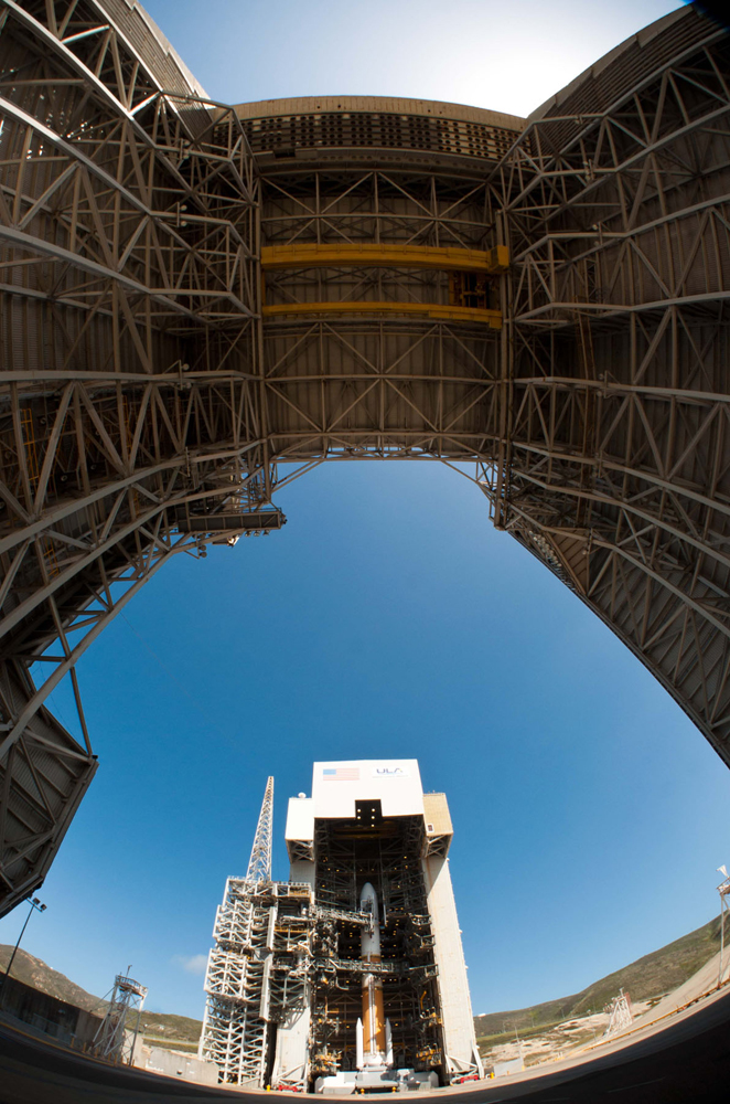 Delta 4 Rocket with NROL-25 Satellite Through Fisheye Lens