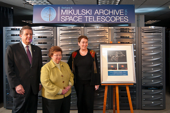 A huge astronomy archive located at the Space Telescope Science Institute (STScI) in Baltimore, Md. has been named the Barbara A. Mikulski Archive for Space Telescopes (MAST), in honor of the United States Senator from Maryland. In this picture, Senator Mikulski (D-Md.) is in the center, with STScI Director Matt Mountain at her right, and STScI deputy director Kathryn Flanagan at her left.