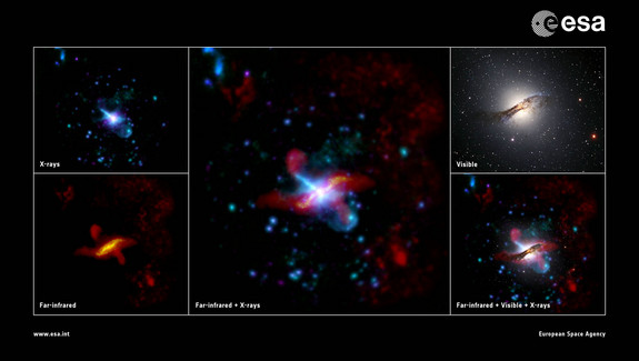 A look at the giant elliptical galaxy Centaurus A in multiple wavelengths of light. Clear correlation is seen between the jet features at far-infrared wavelengths and how they interact with their surroundings in the visible light view. Scientists think Centaurus A formed after a merger between two smaller galaxies long ago.