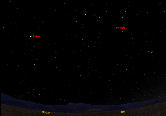 This sky map shows the southern location of Saturn on April 15, 2012 at 12 a.m. local time as the planet reaches opposition, the point in its orbit opposite the sun, to observers in mid-northern latitudes. Mars is also visible in the southwest.