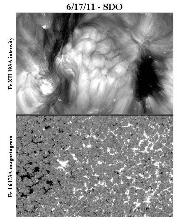 The central part of the sun's disk on June 17, 2011, seen from the Solar Dynamics Observatory in a coronal emission line (top) and a map of the surface magnetic field (bottom). Coronal cells are sandwiched between a dark coronal hole and the polarity reversal line of the field.
