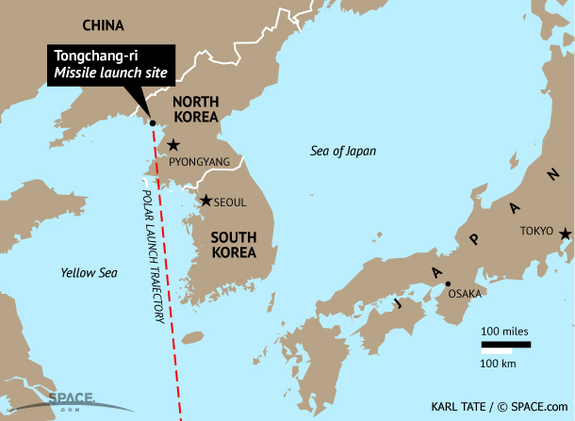 North Korea's missile launch site is located at Tongchang-ri.