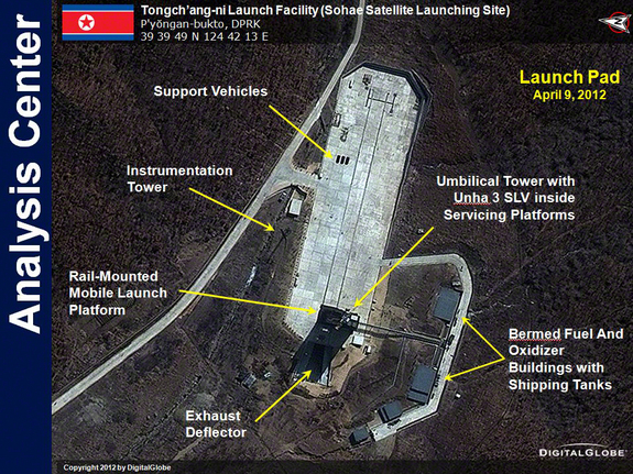 This DigitalGlobe satellite image of the Tongchang-ri Launch Facility in North Korea was taken on April 9, 2012.