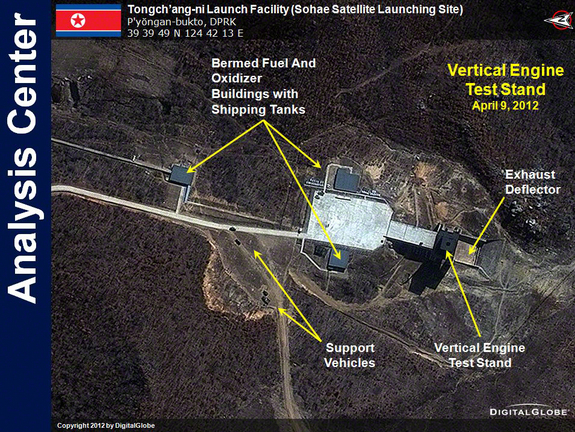 This DigitalGlobe satellite image shows the vertical engine test stand at the Tongchang-ri Launch Facility in North Korea. The image was taken on April 9, 2012.