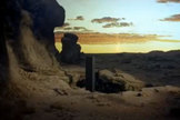 "A monolith placed on Earth by aliens in ""2001: A Space Odyssey."""
