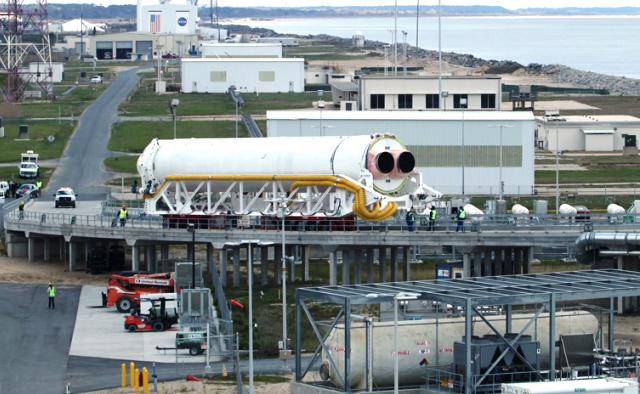 Antares Rocket First Stage Ascends to the Pad