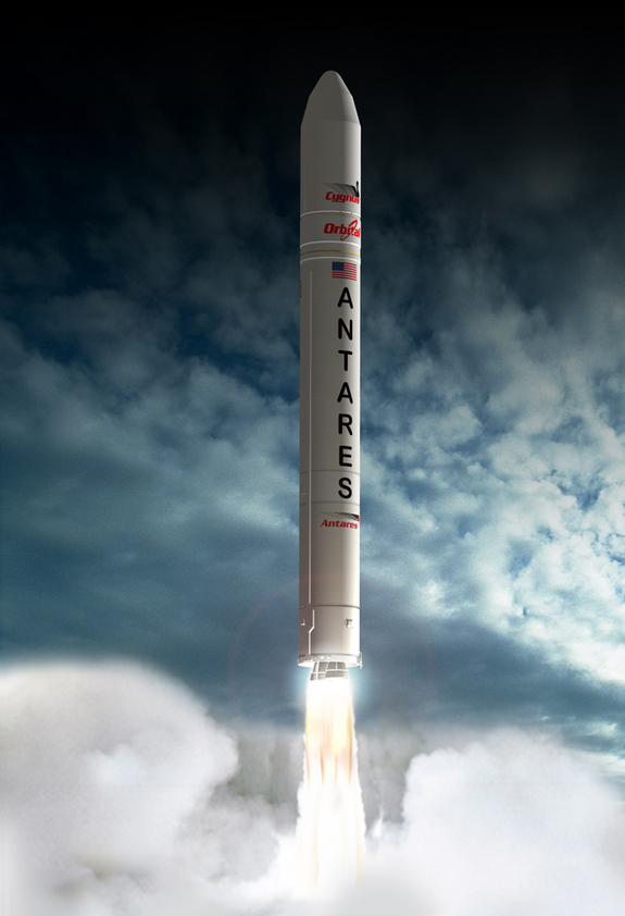Artists' rendering of Antares in flight.