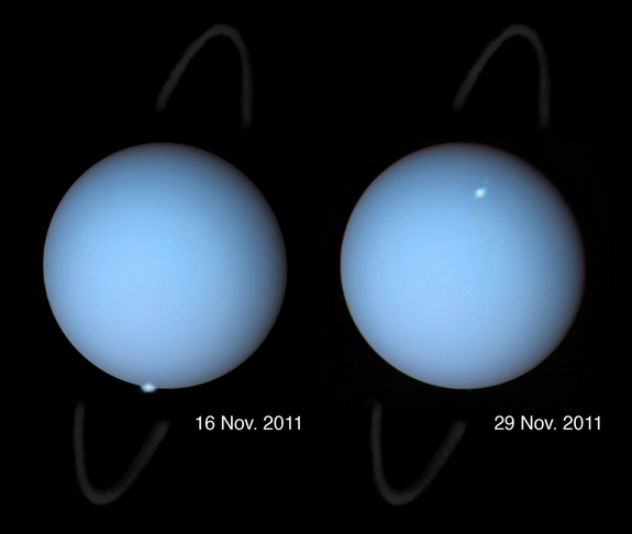 These composite images show Uranus auroras, which scientists caught glimpses of through the Hubble Space Telescope in 2011. The image was released on April 13, 2012.