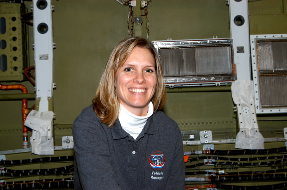 Stephanie Stilson, NASA vehicle manager for Discovery, poses for a photo in January 2004. Stilson is now the shuttle transition and retirement flow director at the Kennedy Space Center in Florida.