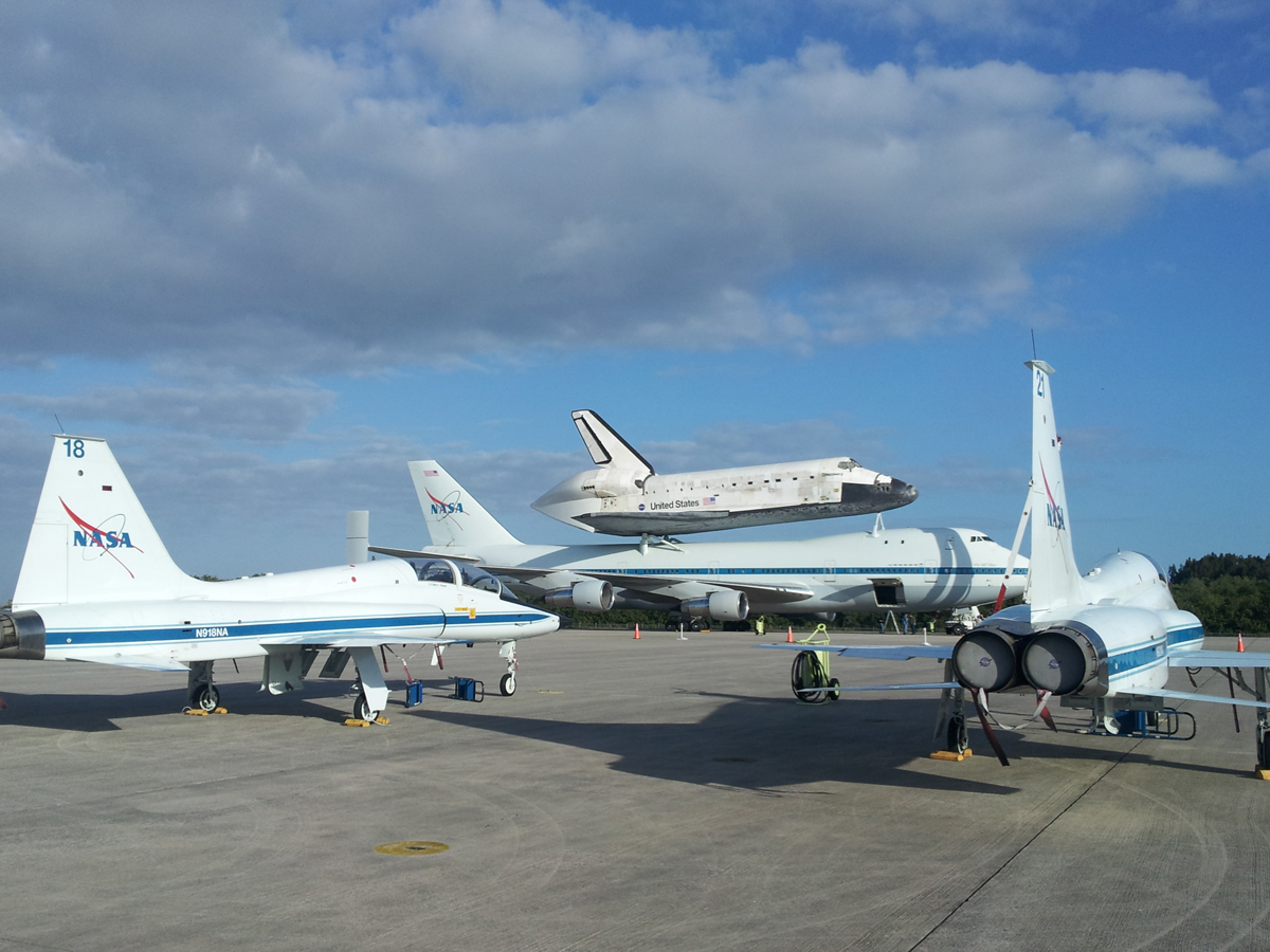 Discovery Aboard Shuttle Carrier Aircraft