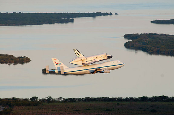 Discovery and the Shuttle Carrier Aircraft departed Kennedy Space Center's Shuttle Landing Facility on April 17, 2012. It was the same runway where the shuttle last landed from space on March 9, 2011.
