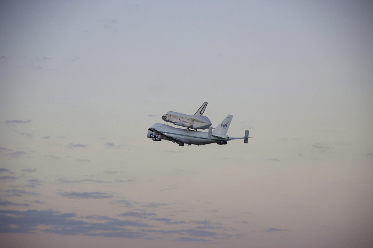 Shuttle Carrier Aircraft Carrying Discovery Takes Off