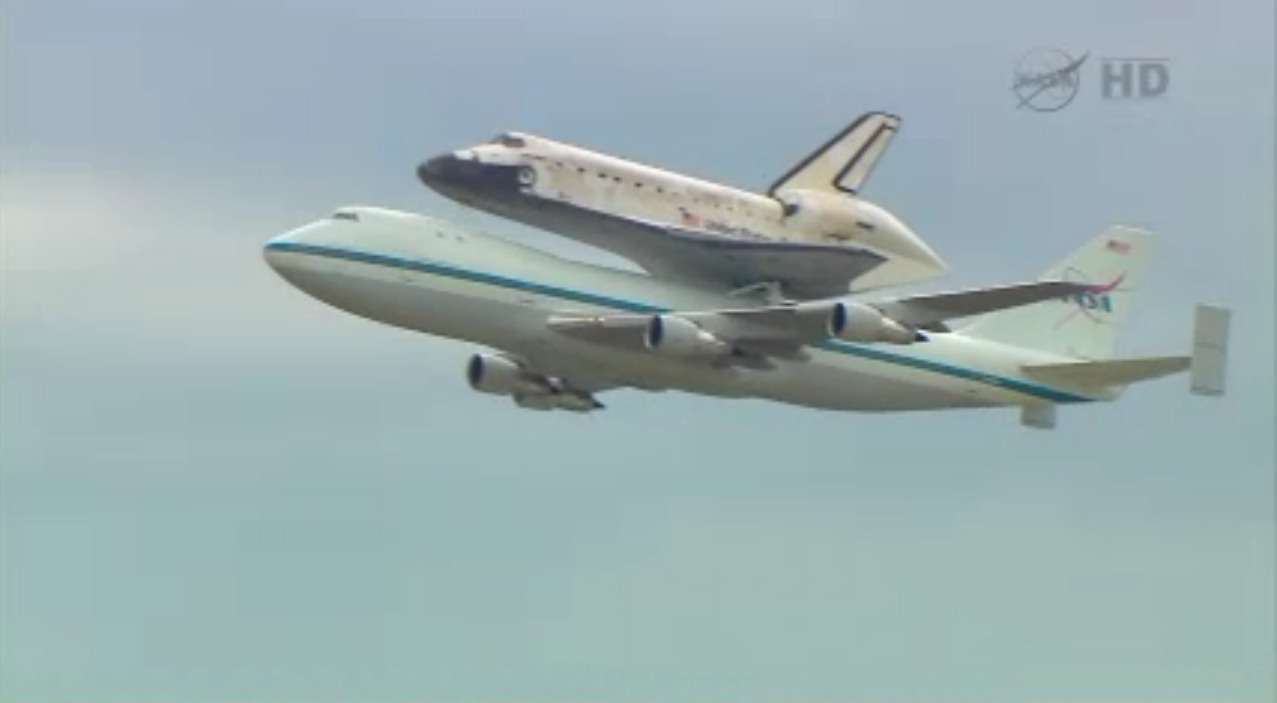 Shuttle Carrier Aircraft Carrying Discovery in Flight