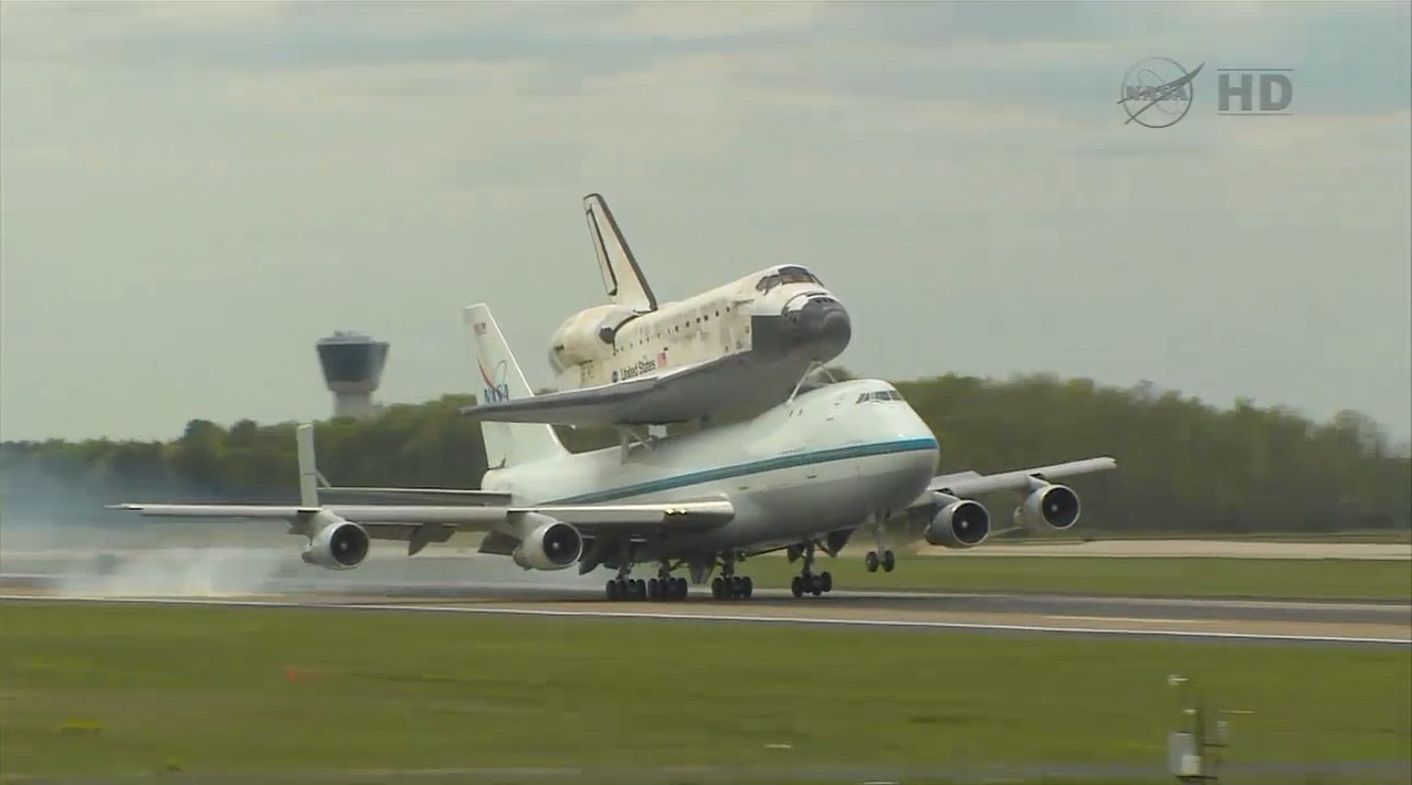 Shuttle Carrier Aircraft Ferrying Shuttle Discovery Lands