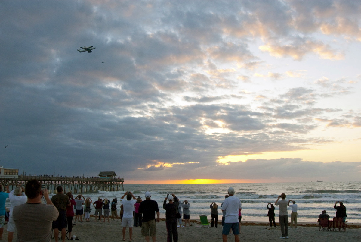 Shuttle Carrier Aircraft and Discovery Flying Past Florida Beaches