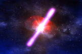 An illustration of a gamma-ray burst, the most powerful explosion type yet seen in the universe.