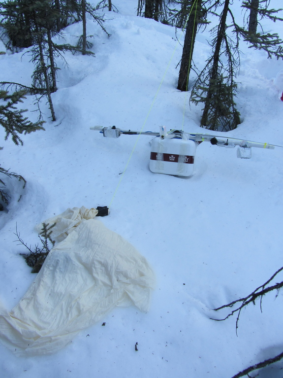 A close-up of a fallen balloon and payload recovered by the Project Aether: Aurora team on April 11, 2012.