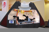 A model of Boeing's CST-100 space capsule shows the crew-carrying craft's interior design. The CST-100, which can carry up to seven astronauts, could fly its first manned mission by 2015 or 2016, Boeing officials have said.