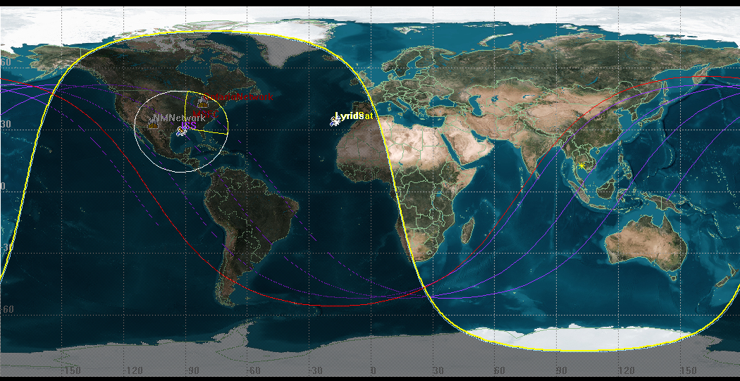 ISS Ground Track Map at Lyrid Meteor Shower Peak