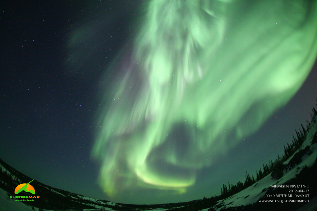 Aurora over Yellowknife, Canada, April 17. 2012