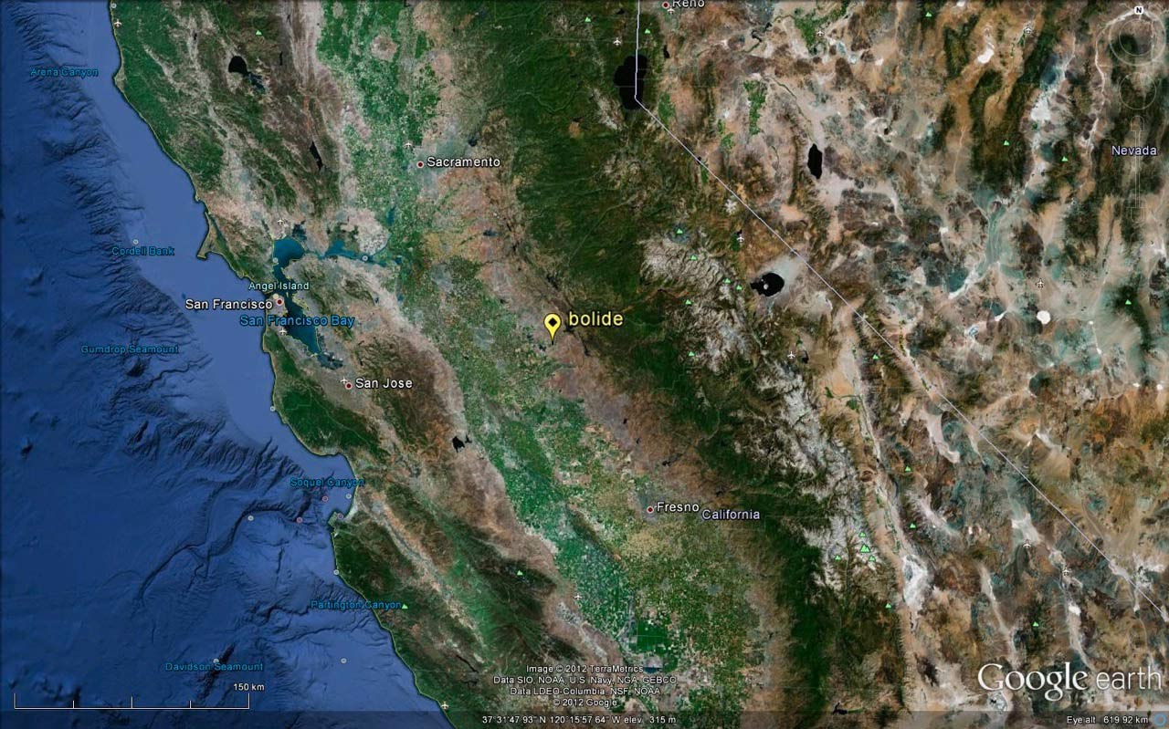 This map shows where the fireball likely broke apart over California, according to signals captured using very low frequency sound.