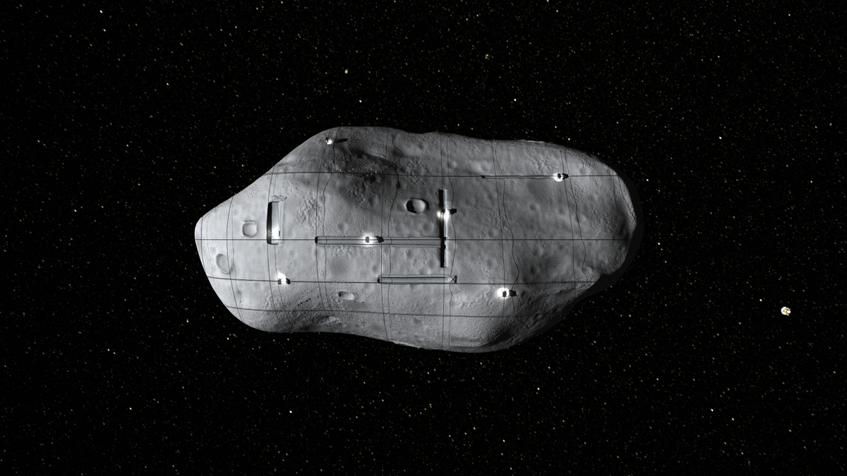 Swarm of Spacecraft on an Asteroid