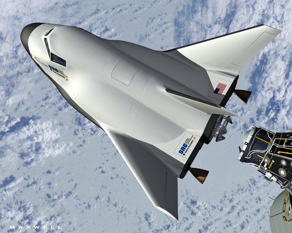 An artist's concept of Sierra Nevada's Dream Chaser space plane docking with the International Space Station.