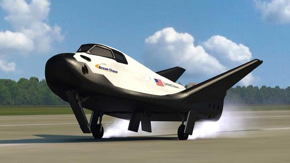 An artist's depiction of the Dream Chaser vehicle landing on a conventional runway at the end of its mission.