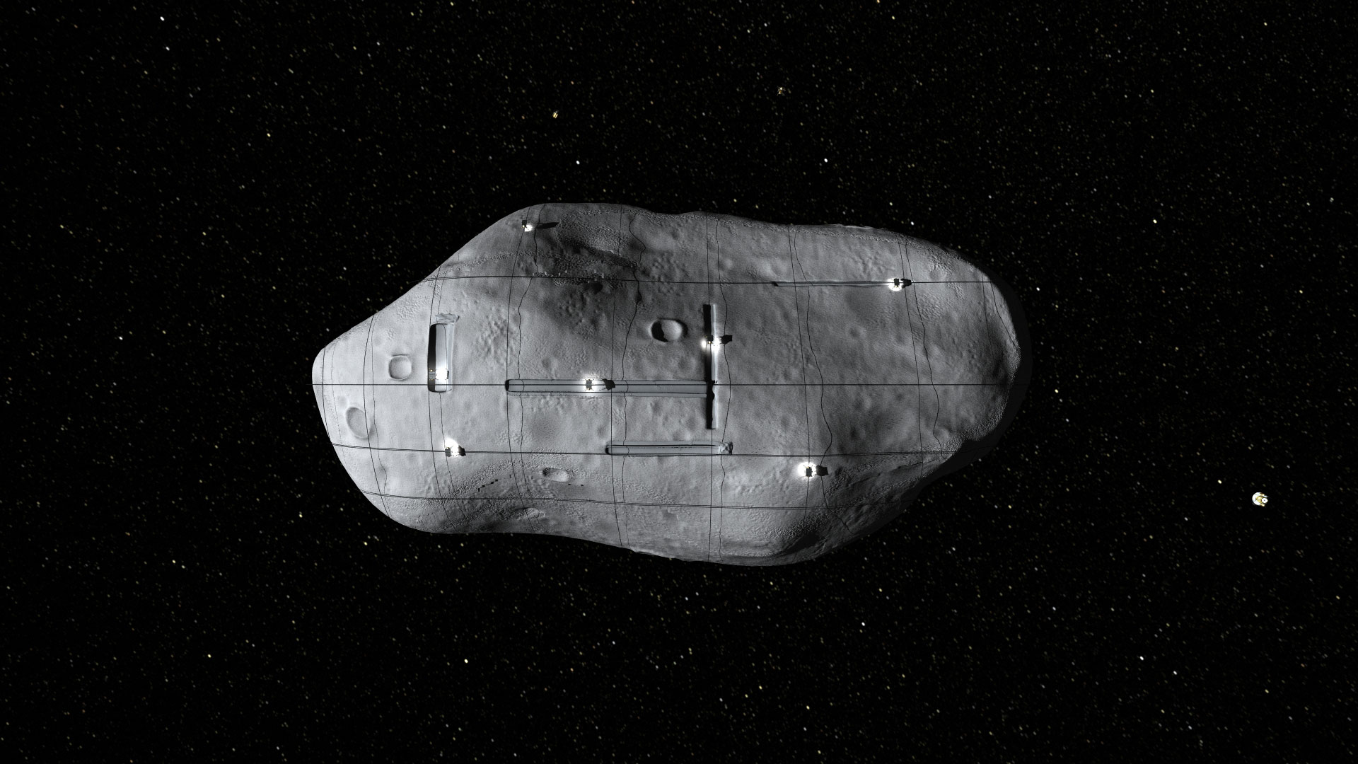 asteroid with building on it - photo #24