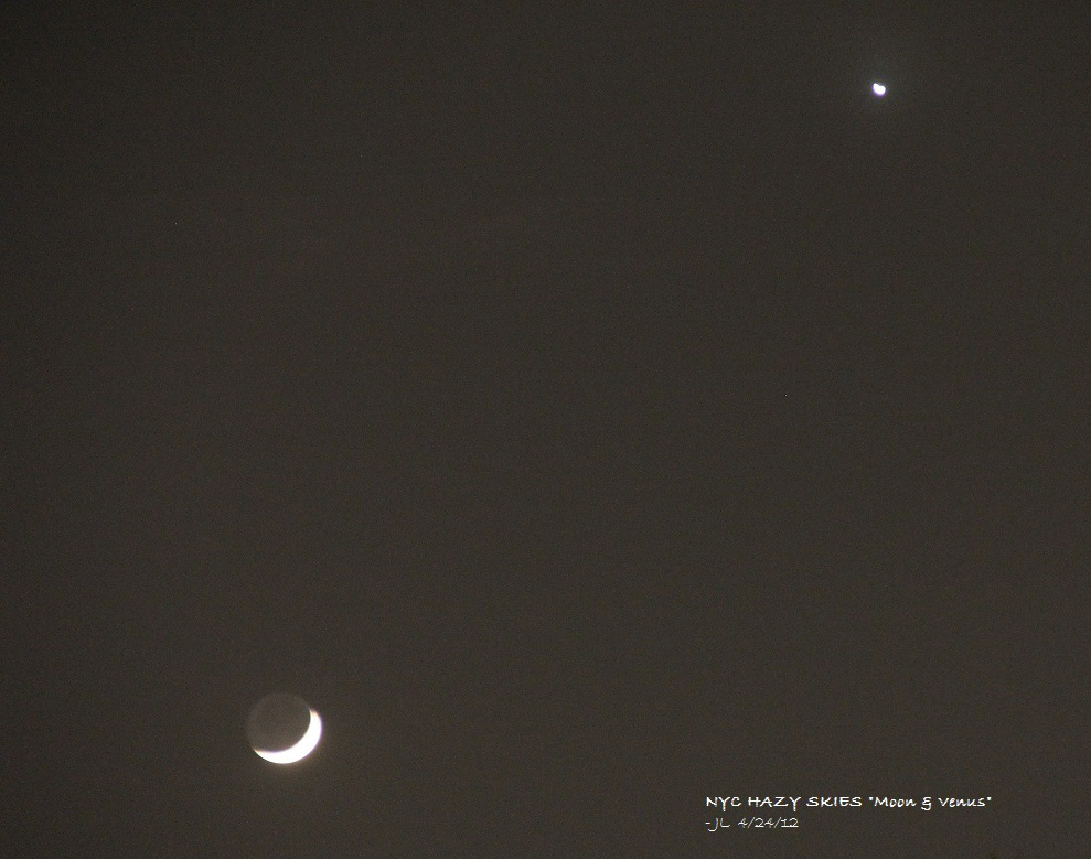 Venus and the Crescent Moon over New York City