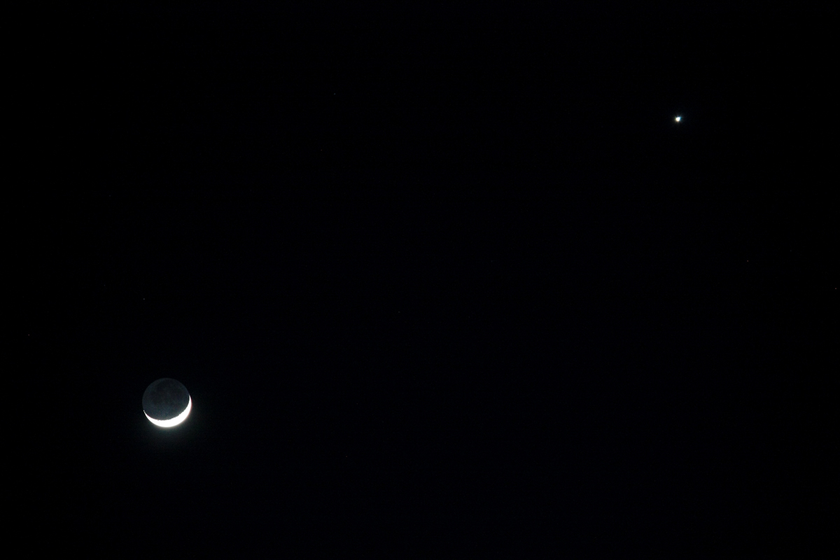 Venus and the Crescent Moon over Arizona