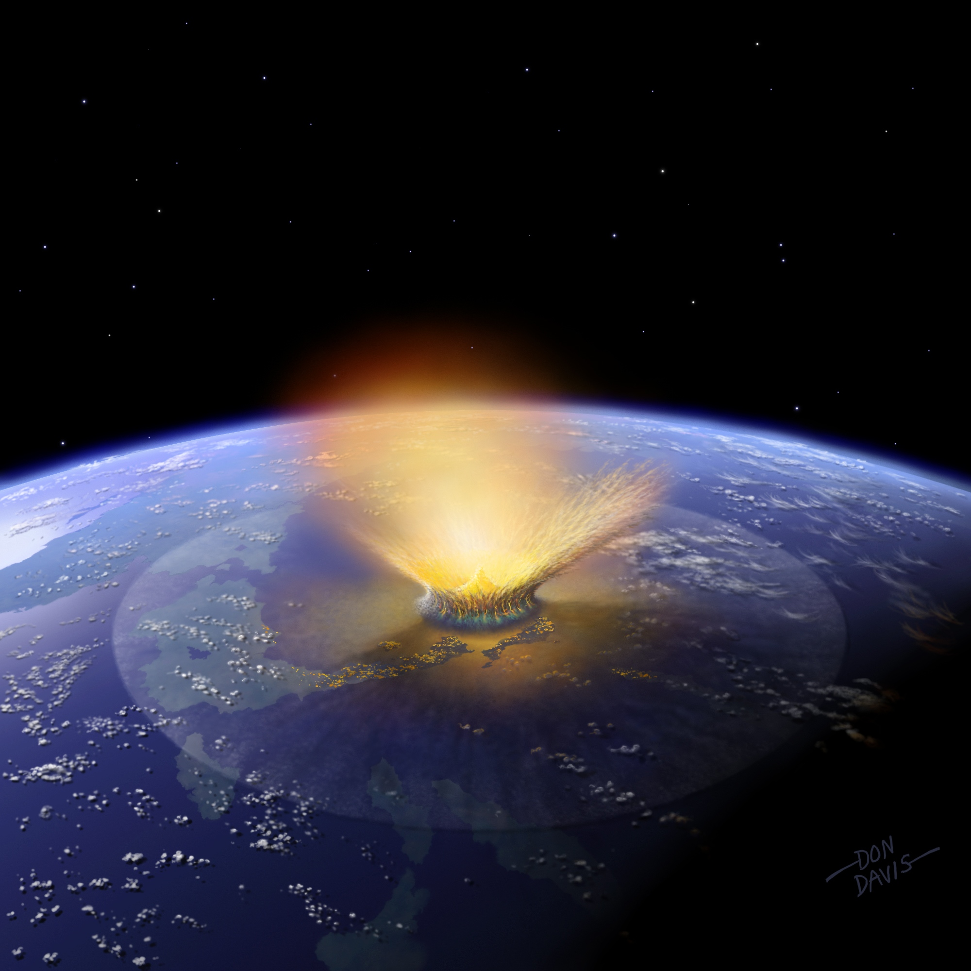 Huge Asteroid Striking Earth