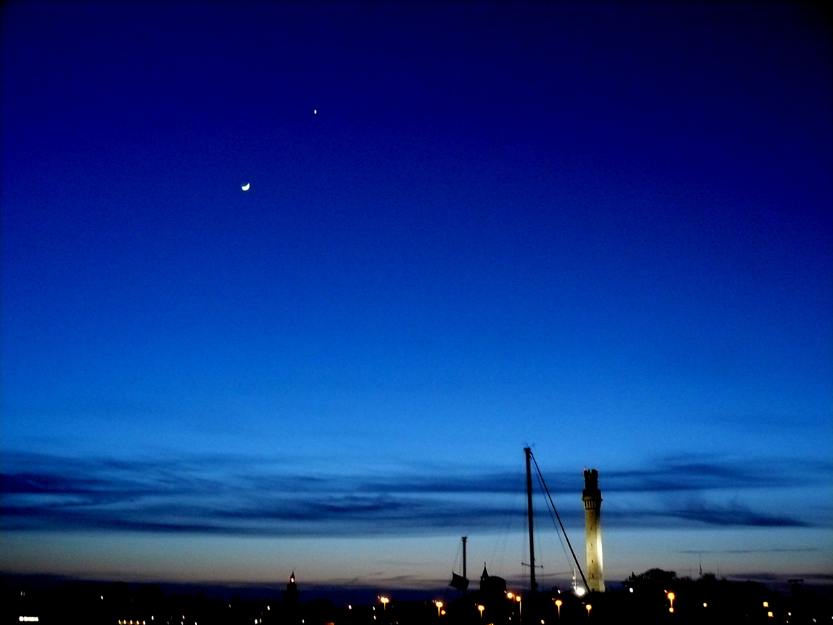 Moon, Venus, and the Pilgrim Monument