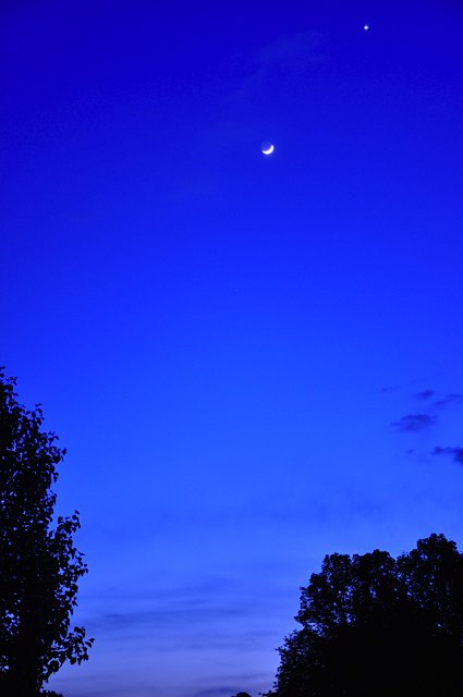 Venus and the Crescent Moon over Delaware