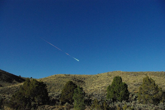 A meteor lights up the daytime sky above Reno, Nevada on April 22, 2012 in this amazing photo by skywatcher Lisa Warren. Scientists recovered fragments from the so-called Sutter's Mill meteorite in California after an intense search.