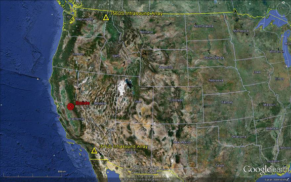 The red bullseye indicates the location where a meteor exploded over California's Central Valley on April 22, 2012. The yellow triangles mark infrasound arrays, which were key in determining the location of the meteor's explosion.