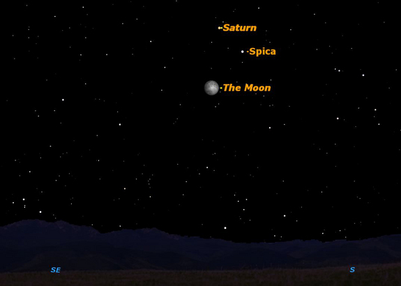 Saturn, Spica, and the moon sky map, May 4, 2012.