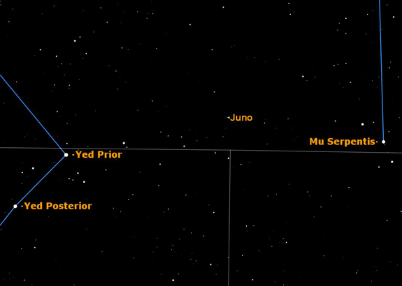 A rare opportunity to spot the asteroid Juno at magnitude 9.8 on May 20, 2012.