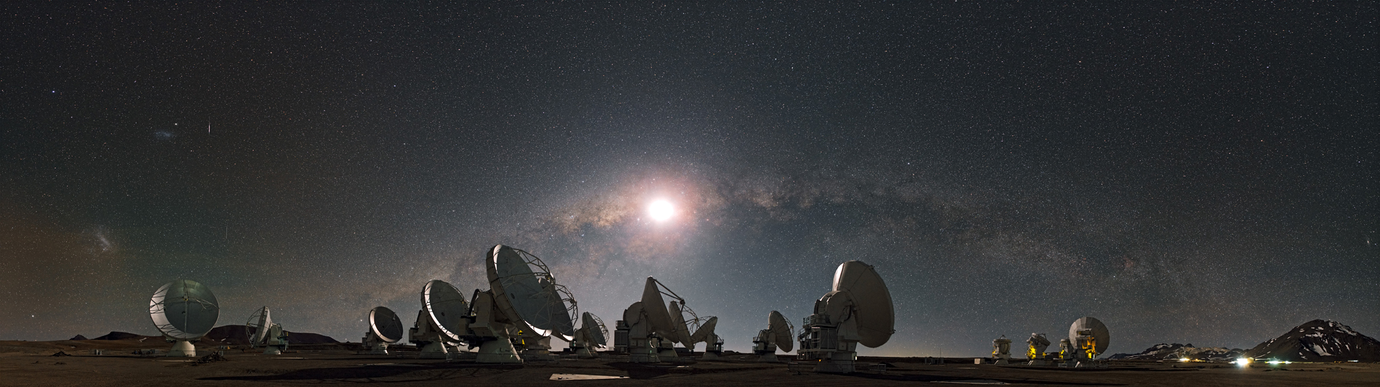 Moon, Milky Way, and ALMA Telescope