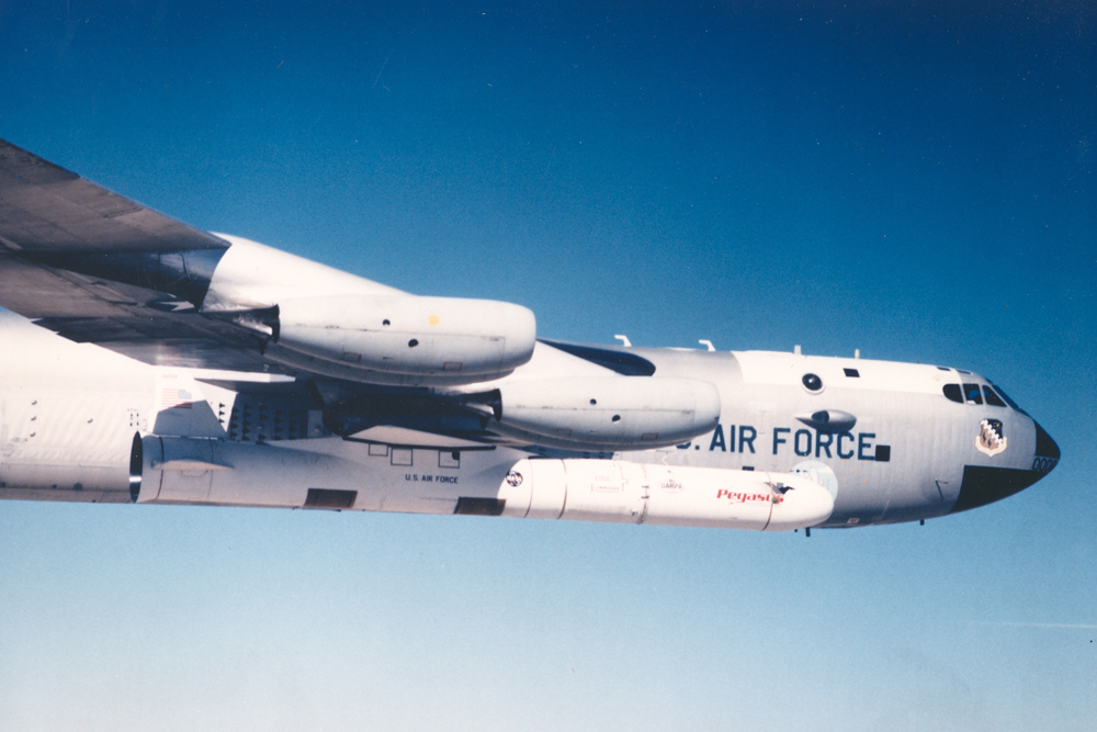 Space History Photo: Pegasus Rocket Carried by B-52