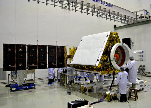 A view of India's RISAT 1 radar surveillance satellite as it was prepared for launch by the India Space Research Organisation.
