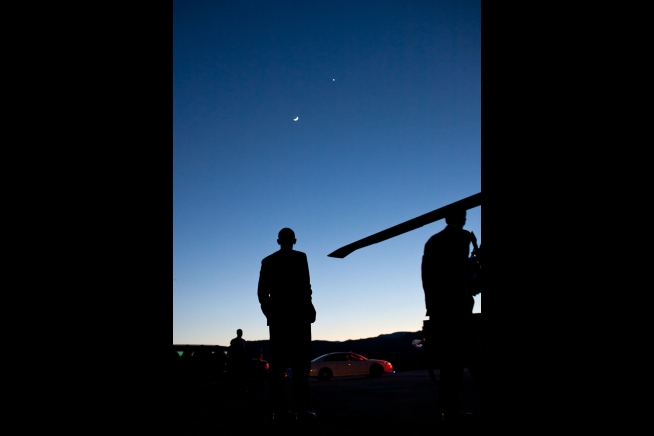 President Obama Spots Venus and the Moon